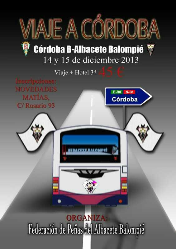 La Federación de Peñas del Albacete Balompié organiza viaje a Córdoba con  motivo del encuentro entre el filial cordobés y nuestro Albacete Balompié. 5b26bc4cfcdca