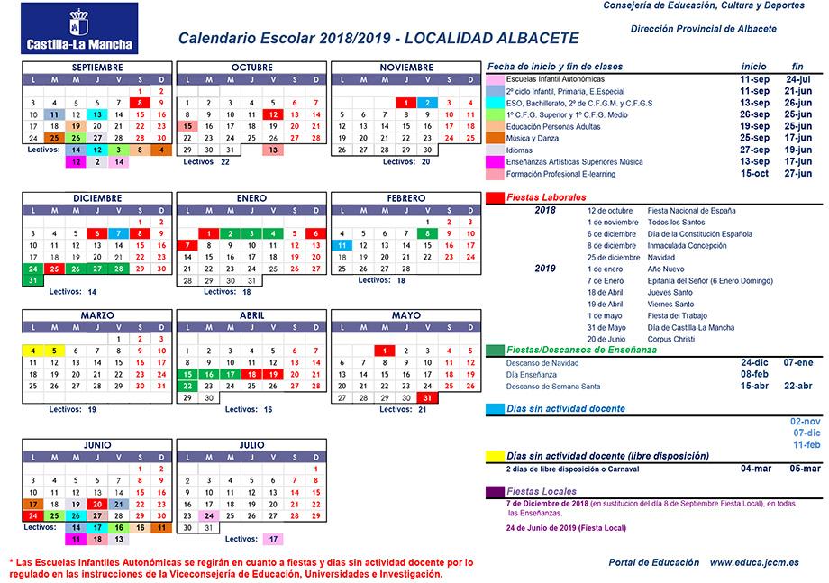 Calendario Universitario.Descarga El Calendario Escolar De La Ciudad De Albacete Para