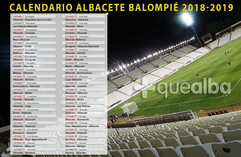 Albacete Balompie Calendario.El Calendario Del Albacete Balompie En La Temporada 2018 2019